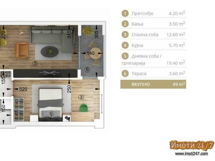 Се продава стан од 49 м2 во финална градба на 1кат во зградата на Порта Аеродром